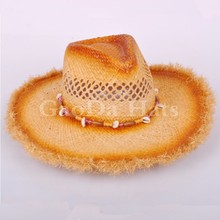 Orange painted Raffia straw mexican cowboy hat
