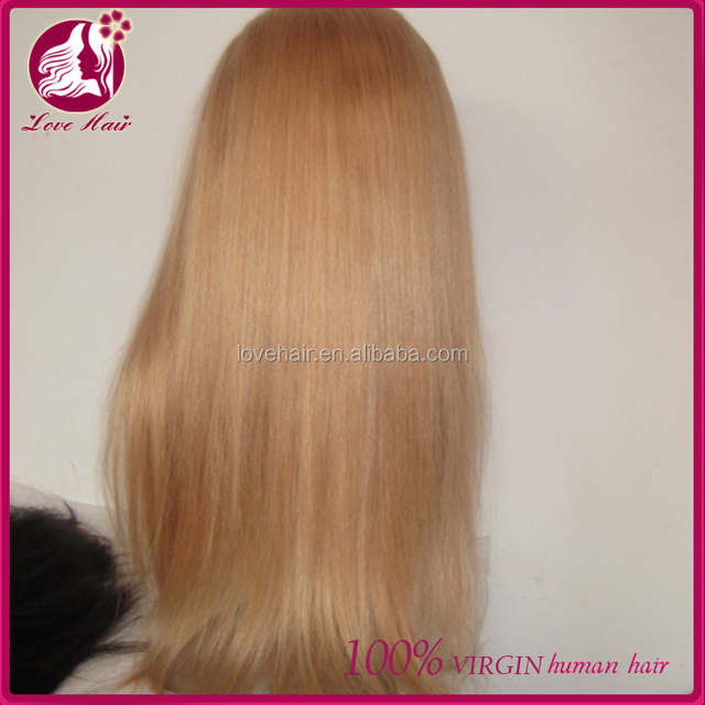 chinese human hair full lace wig, honey blonde remy lace wig hot sale