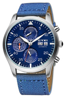 EYKI Brand Fabric Men Fashion Automatic Sport Watches Workable Sub-dials Date 30M Waterproof Military Watch