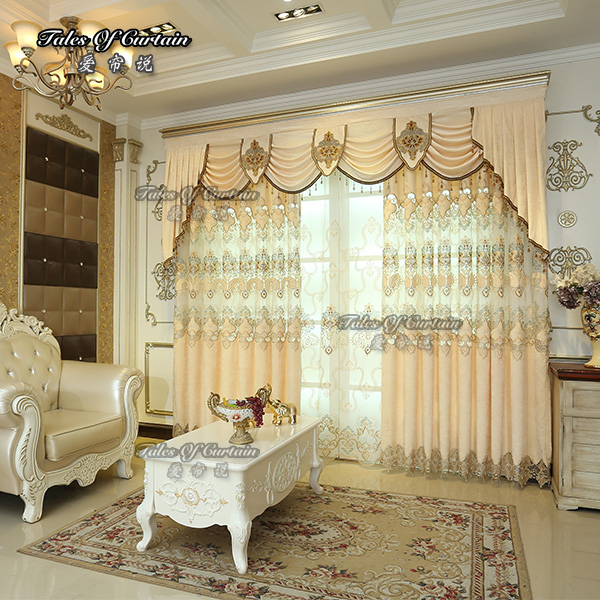 100% poly luxury curtain ready made glitter blackout curtain