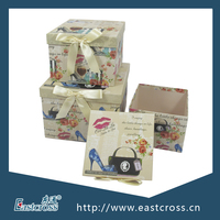 Square Nested Paper Gift Box Packaging with Bowknow