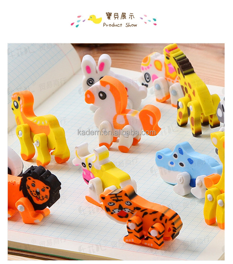 Students rubber novelty animal eraser scented eraser magic pencil eraser