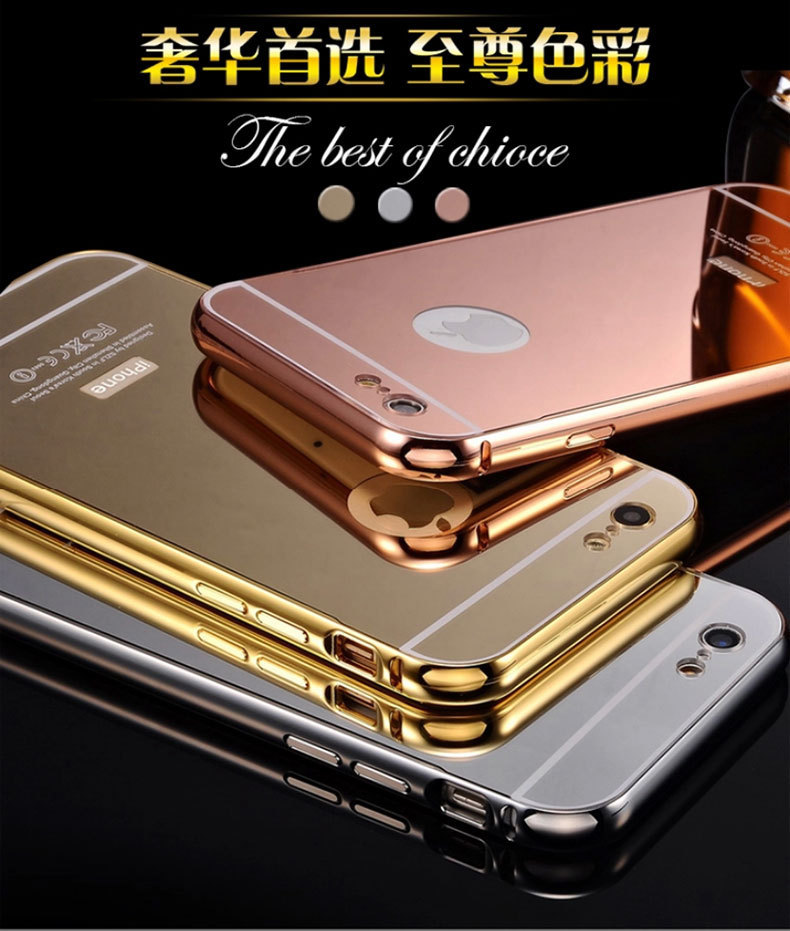 high quality mirror acrylic back cover metal aluminum bumper case for iphone 5 / 6 / plus