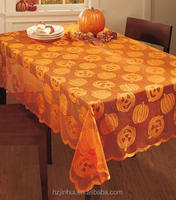 "Lace Pumpkin Tablecloth 60""x84"" Indoor Halloween Kitchen Table Decorations Linen"