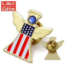 Lapel Pin Making Supplies Cheap Wholesale American Security Cross Country Flag Lapel Pin