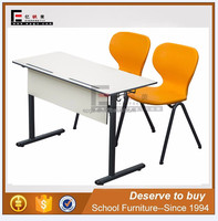 Hot school furniture double compact board desk and chair