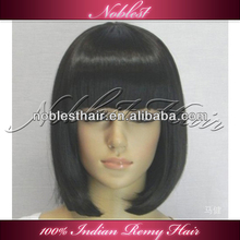 In stock China supplier wholesale cheap brazilian vrigin short straight bob style human hair full lace wig