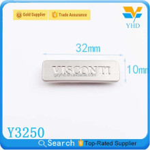 custom metal clothing plates brand names logos for garments accessories