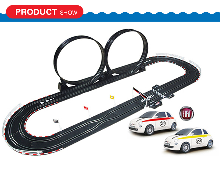 Kids play wire control 1:43 scale battery operated track cars with diy race track
