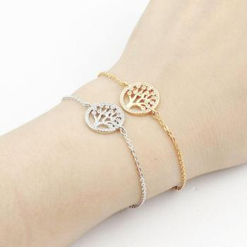Women Hollow Tree of Life Stainless Steel Charm Bracelet Link Ankle Chain Party Gift Pulseras