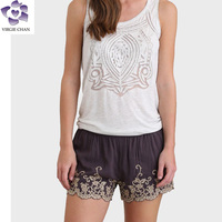 ladies embroidered shorts pants