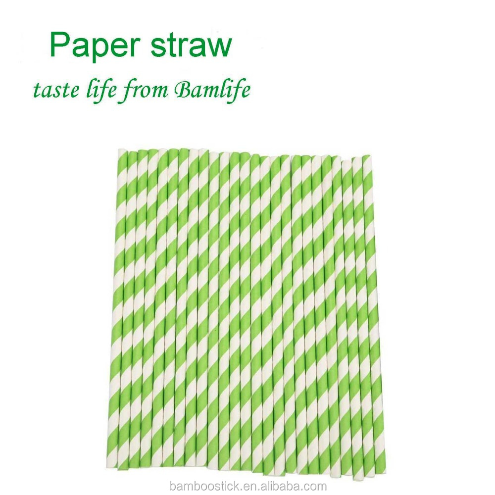 green Striped Paper Drinking Straws for Parties ,Table Decoration length 197mm