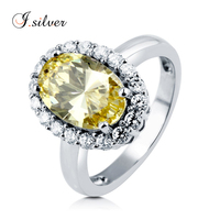 Wholesale 925 sterling silver Yellow sapphire CZ stone Halo rings jewelry R500384
