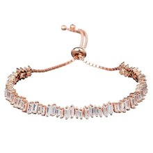 Baguette Bracelet Adjustable Rose Gold Plating AAA CZ stone