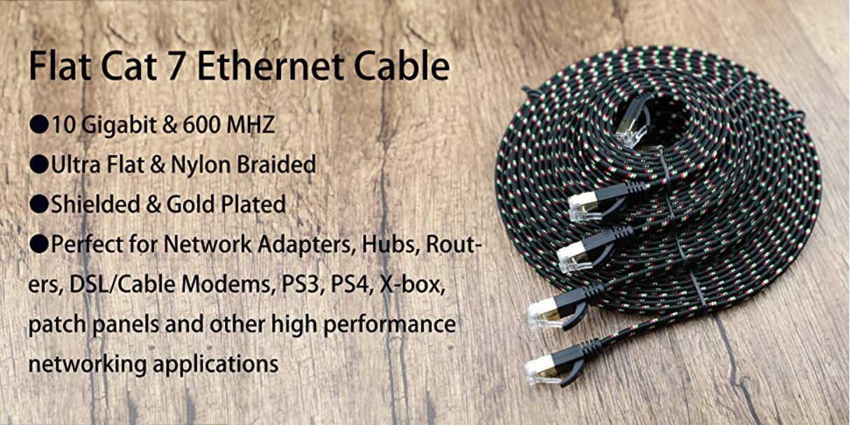 Nylon Braided Cat7 Flat Internet Network LAN Patch Cable SSTP Shielded Gold Plated Ethernet Network Patch Cable