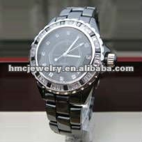 2012 fashion Jewelry Water Resistance Black Ceramic Quartz With Diamond Mens Wrist Watch
