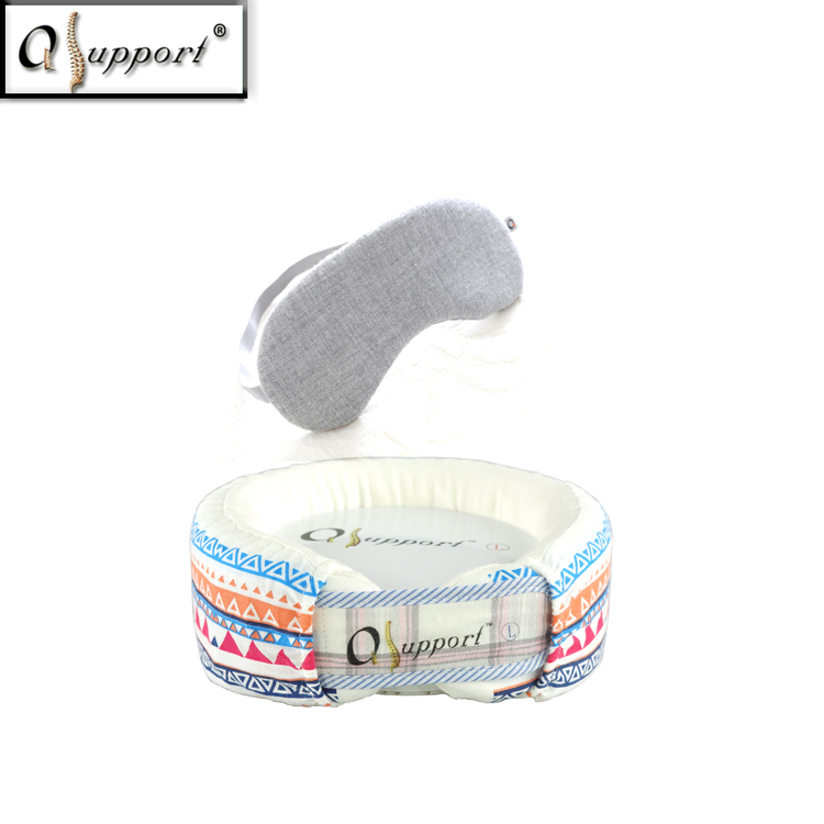 Wholesale Qsupport FIR Anions Natural Latex European Fashionable Correcting Neck Posture Travel Pillow with Sleeping Eye Mask