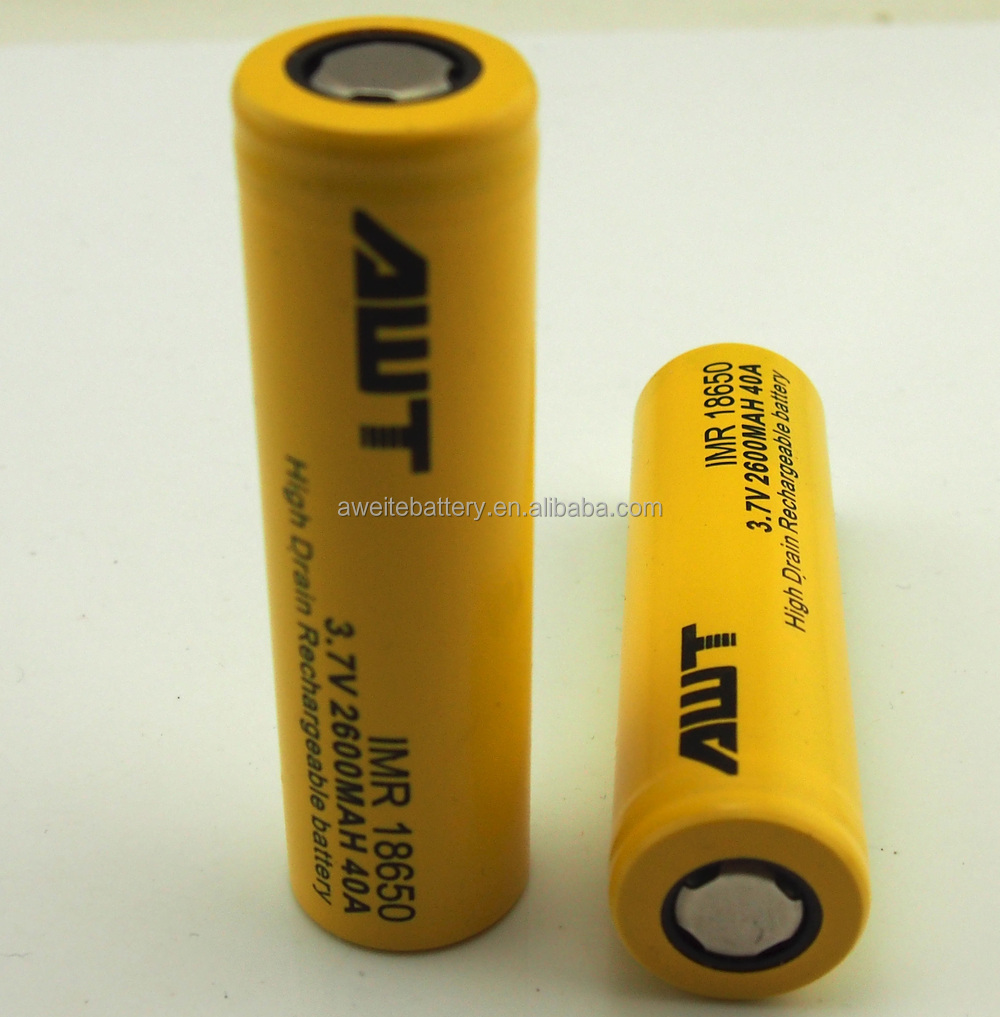 High drain AWT 18650 battery 18650 2600Ah 40A lithium battery for hingwong e-cigarette mec