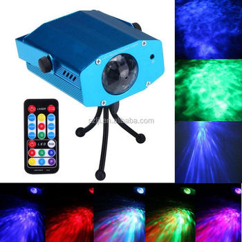 7 Color Changing Remote Control RGB LED Water Ripple Effect Projector Stage Laser Light