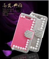 New Arrival Luxury Bling Diamond Wallet Leather Case for IPhone 5C Multi-Colors Good Quality Pearl Leather Case for iPhone 5 5s
