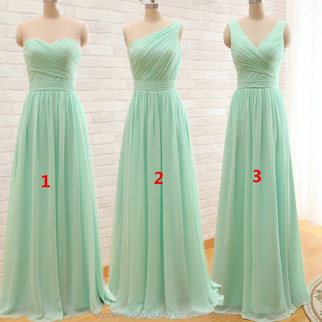 Cheap A Line Mint Green Long Chiffon Pleated Bridesmaid Dress 2016 Under 50 CWF2386