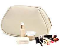beige stand cosmetic bag plain middle beauty kit bag piping make-up bag