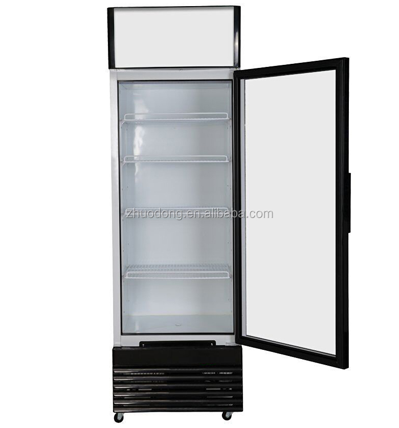 300L glass front vertical fridge display freezer