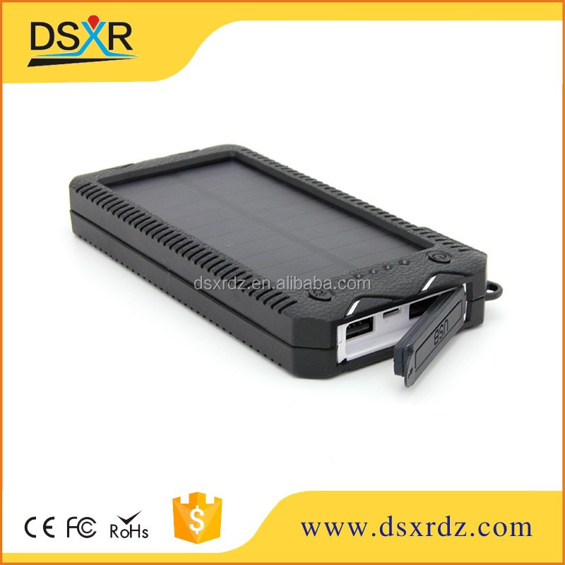 CE RoHs FCC 12000mah solar Charger mobile phone solar powerbank 5v 2a for i phones