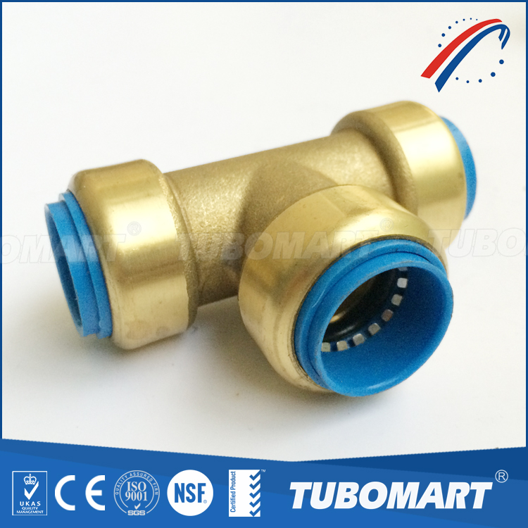 DZR lead free brass shark bite push in fittings for PEX CPVC PVC copper pipe