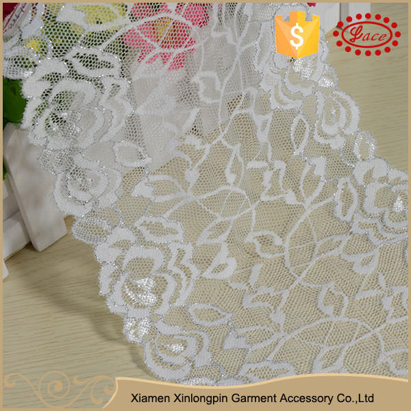 Wide decorative floral sewing elastic sequins lace trim for garment