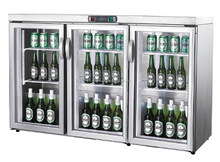 bar equipment made-in-China static 3 door glass display showcase table top stainless steel small fridge for beer