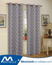 100% poly home window curtain cross linen with embroidery panel