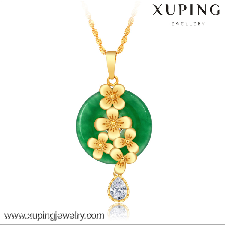 XL4167 xuping gold plated jade jewelry short gemstone pendant necklace