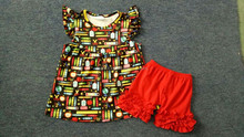 Fashion kids dresses set wholesale baby peal dresses with ruffle shorts outfits girls boutique