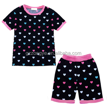Wholesale children boutique clothing 100% cotton heart pattern kids summer clothing