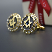 New Design Best-selling Crystal Precision Masonic Gold Cufflinks