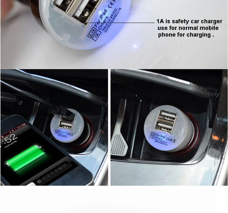 Paypal accept Factory Price Car Battery Charger,High Efficiency Dual USB Car Charger