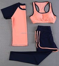 Yoga wear for women summer short sleeve shirts with sports inner bra and short pants sports wear women set outfits