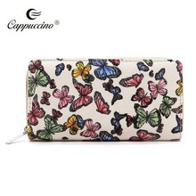 Fashion designer factory whosales Printed Canvas Zip Around Wallet