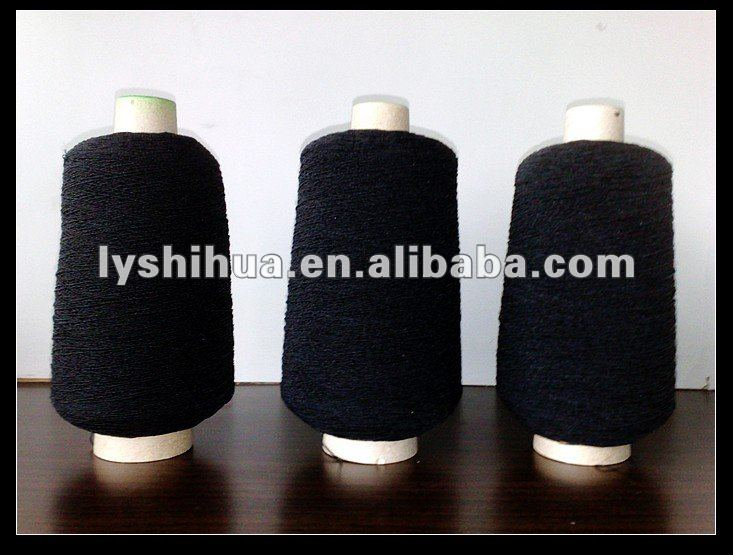 elastic rubber covered thread/yarn 90# 150D*2 black