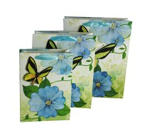 Fancy purple 3D pop up butterfly and flower paper gift bag with handles