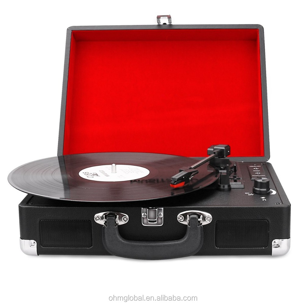 OM-17010R Bluetooth Turntable Portable Suitcase Record Player with Built-in Speakers, USB/SD Recorder, Rechargable battery