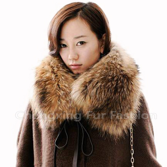COLLAR-<strong>R10</strong> Wholesale Super Detachable Real Raccoon Fur Banded Collar