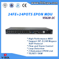 24FE + 24POTS EPON MDU with Layer 2 802.1d and 802.1ad Bridging, 802.1Q VLAN