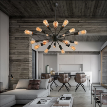 Modern Interior Decoration Hanging Lamp Edison Bulbs Chandelier Black/Brown/Rusted Color Wrought Iron Spider Shape Pendant Light