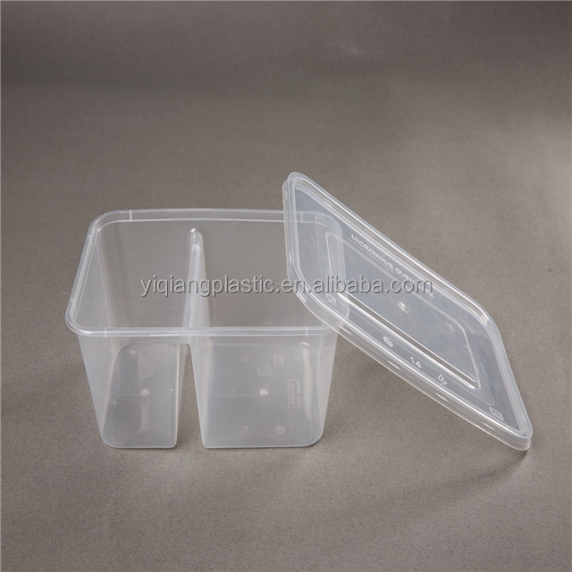 Clear disposable take out buy plastic food containers with divider