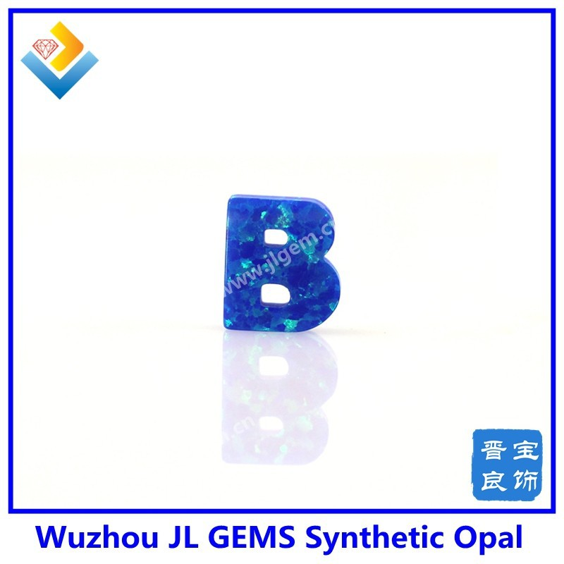 9*10mm Full Drilled Hole Synthetic Letter B Shape Blue Pacific Opal Gemstone