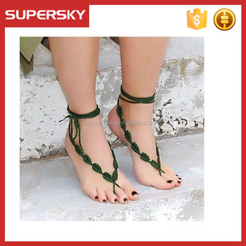 M43 Crochet Barefoot sandals beach anklets Foot Jewelry Long Ties Beach Wedding Accessory