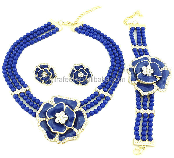 royal blue african coral beads jewelry set