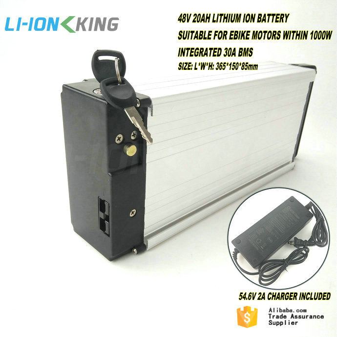 LI-ION KING Rear Rack 1000W Electric Bike <strong>Battery</strong> 48V 20Ah with 30A BMS and 2A Charger